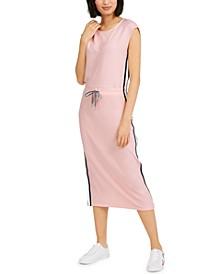 Cap-Sleeve Drawcord Midi Dress