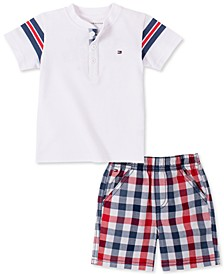 Baby Boys Henley and Plaid Shorts Set