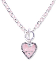 "Silver-Tone Crystal & Heart Logo 18"" Pendant Necklace"