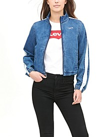 Women's Striped-Sleeve Cropped Bomber Jacket