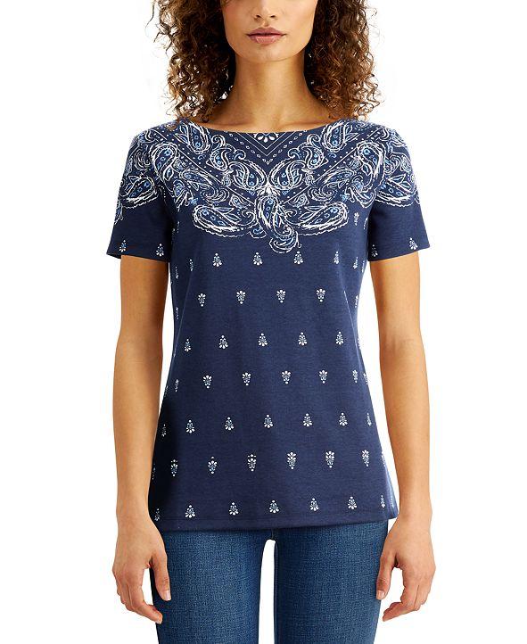 Karen Scott Plus Size Printed Boat-Neck Top, Created For Macy's