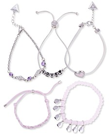 Silver-Tone 5-Pc. Set Crystal & Heart Mixed Bracelets