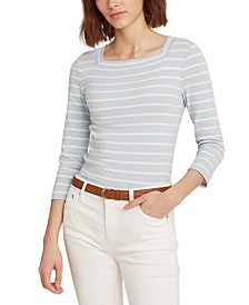 Striped Boat-neck Casual Top