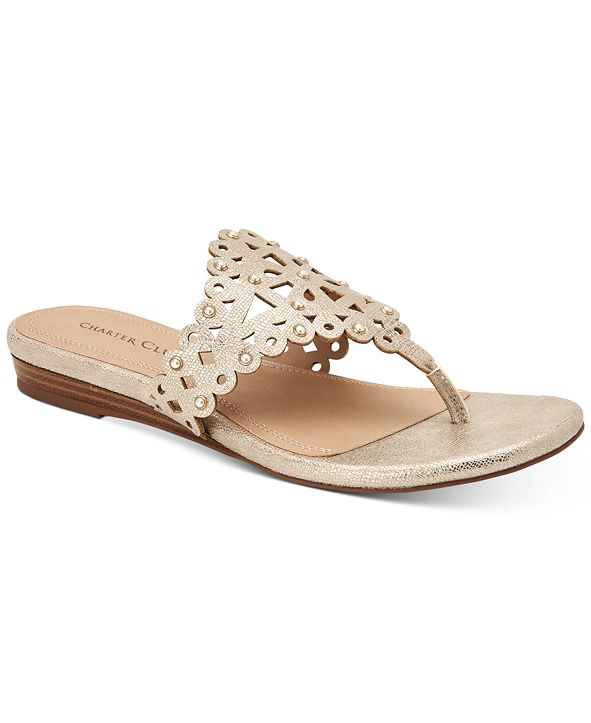 Charter Club Omanii Thong Slide Flat Sandals, Created for Macy's