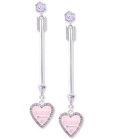 Silver-Tone Arrow & Pink Heart Linear Earrings