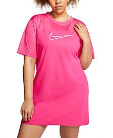 Plus Size Mesh-Contrast Sportswear Dress
