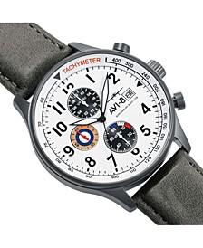 Men's Hawker Hurricane Chronograph Gray Genuine Leather Strap Watch 42mm