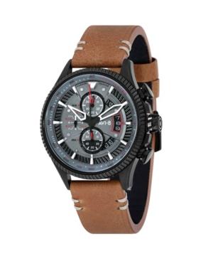 Men's Hawker Hunter Chronograph Avon Edition Brown Genuine Leather Strap Watch 45mm
