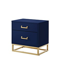 Emiliana 2-Drawer High Gloss Nightstand with Metal Base
