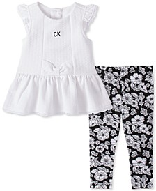 Baby Girls Flutter Tunic and Floral Print Leggings Set