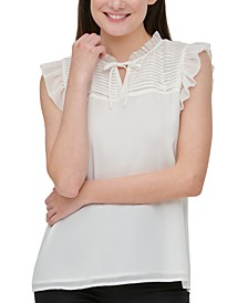 Pleated-Yoke Flutter-Sleeve Top