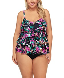 Trendy Plus Size Dahlia Floral Tiered Tankini Top & Bottoms, Created for Macy's