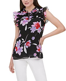 Printed Pleated-Yoke Flutter-Sleeve Top