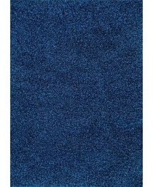 Easy Shag Contemporary Marleen Solid Navy 4' x 6' Area Rug
