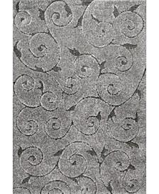 """Pattern Shag Vine Swirls Maisha Charcoal 6'7"""" x 9' Area Rug"""