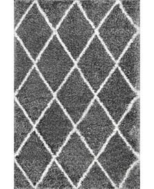 Plush Shag Soft and Plush Diamond Silver 4' x 6' Area Rug