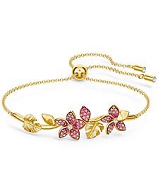 Gold-Tone Tropical Flower Bangle Bracelet