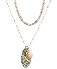 "Gold-Tone Disc & Stone 36"" Layered Pendant Necklace"