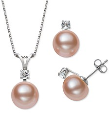 2-Pc. Set White Cultured Freshwater Pearl (9-10mm) & White Topaz Accent Pendant Necklace & Matching Stud Earrings in Sterling Silver (Also in Pink and Dyed Black Cultured Freshwater Pearl)