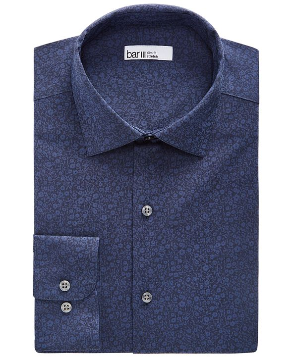 Bar III Men's Slim-Fit Performance Stretch Floral Jacquard Dress Shirt, Created for Macy's