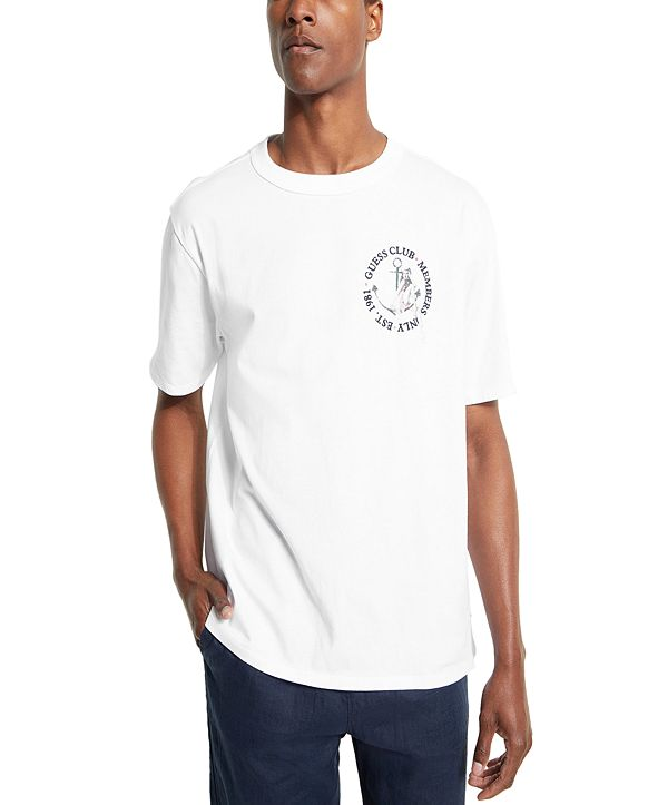 GUESS Men's Oversized Guess Club Girl Crew T-Shirt