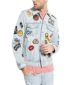 Men's Patched Graffiti Denim Jacket