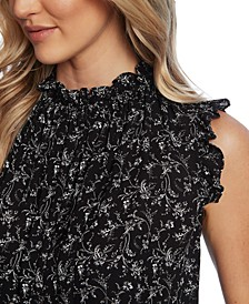 Floral-Print Pleated Ruffled Top