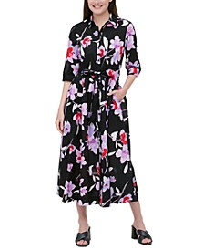 Cotton Floral-Print Belted Shirtdress