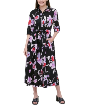 Calvin Klein COTTON FLORAL-PRINT BELTED SHIRTDRESS