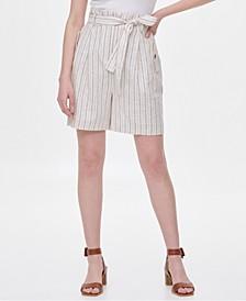 Striped Tie-Waist Linen Shorts