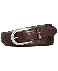 Croc-Embossed Logo-Keeper Belt