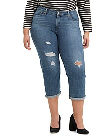 Trendy Plus Size Boyfriend Ripped  Skinny Jeans