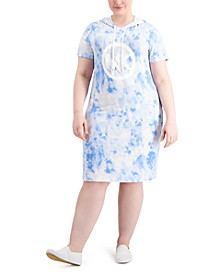 Plus Size Tie Dyed Hooded Dress