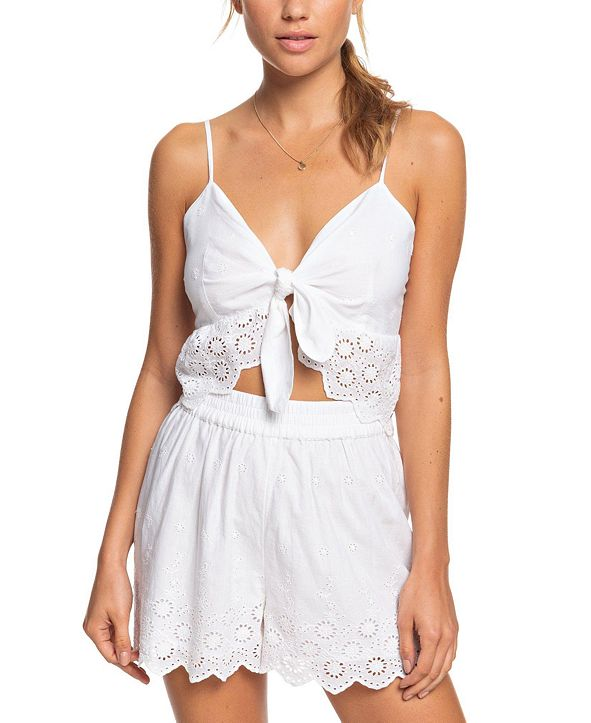 Roxy Juniors' Seaside City Cotton Lace-Trim Shorts