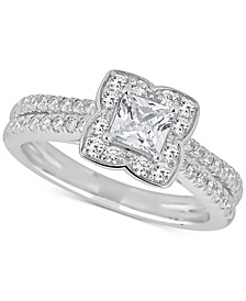 Diamond Princess Scallop Halo Engagement Ring (1 ct. t.w.) in 14k White Gold