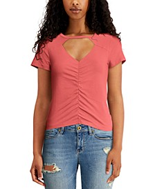 Juniors' Cutout Ruched Top