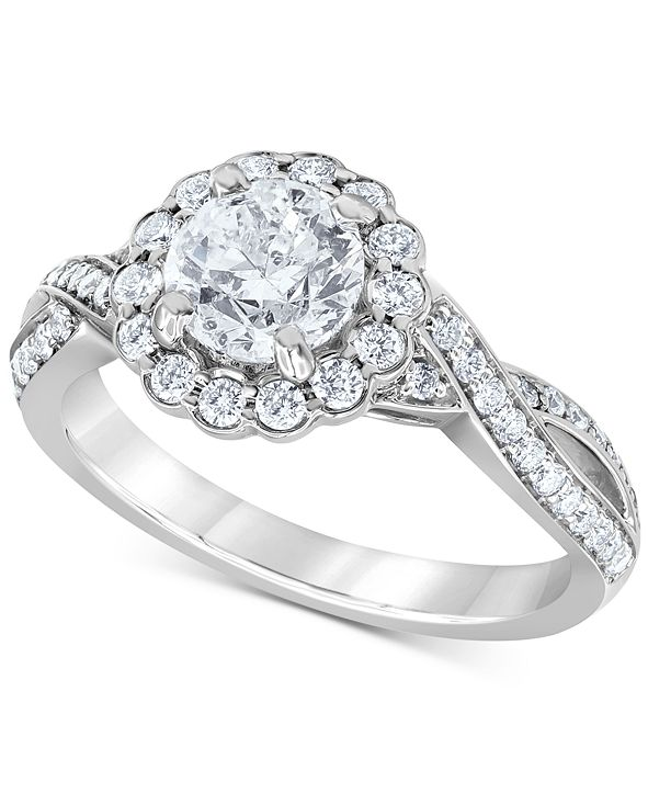 Macy's Diamond Halo Twist Engagement Ring (1-3/4 ct. t.w.) in 14k White Gold