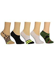 Women's Leopard Camo Sneaker Socks, Pack of 5