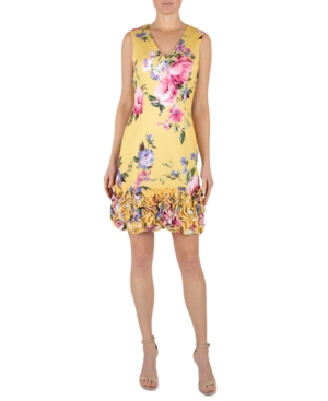 Floral-Print Gathered-Hem Sheath Dress