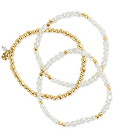 Gold-Tone 3-Pc. Set Imitation Pearl & Bead Bracelets