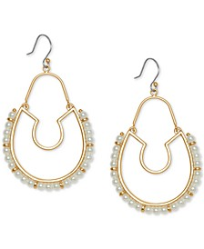 Gold-Tone Imitation Pearl Statement Hoop Drop Earrings