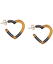 Gold-Tone Tortoise-Look Heart Hoop Earrings
