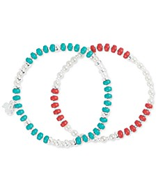 Silver-Tone 2-Pc. Set Imitation Pearl & Stone Beaded Stretch Bracelets