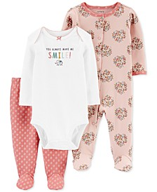 Baby Girls 3-Pc. Cotton Coverall, Bodysuit & Footie Pants Set