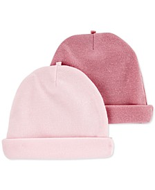 Baby Girls 2-Pk. Solid Hats