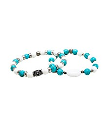 Turquoise and Howlite Beaded Elastic Bracelet, Pack of 2