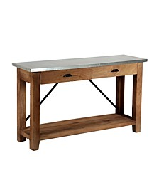 Millwork Wood and Zinc Metal Console and Media Table with Drawers