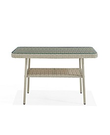 Windham All-Weather Wicker Outdoor Cocktail Table with Glass Top