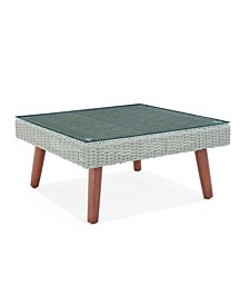 Albany All-Weather Wicker Outdoor Square Coffee Table with Glass Top