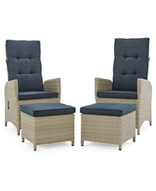 Haven All-Weather Wicker Set Outdoor Recliners with Ottomans and Round Glass Top Accent Table